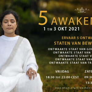 De '5 Awakenings', een virtuele live cursus met Sri Preethaji van 1 t/m 3 oktober 2021.
