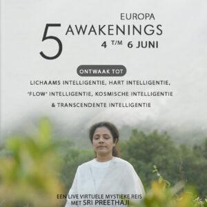 De '5 Awakenings', een virtuele live cursus met Sri Preethaji van 4 t/m 6 juni 2021.